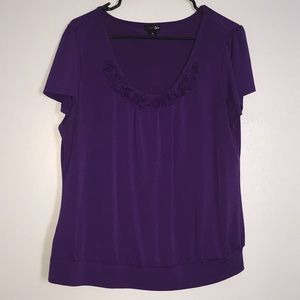 East 5th XL Purple rosette blouse